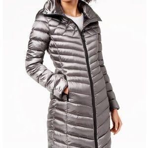 Calvin Klein Lightweight Long Puffer Coat w/ Hood